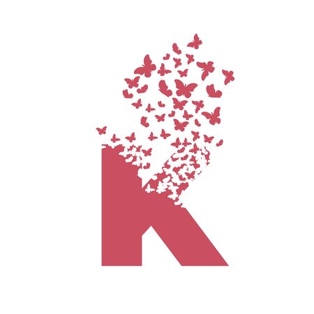 letter K with effect of destruction. Dispersion. Butterfly, moth.