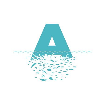 Letter A with the effect of destruction. Dispersion. Fishes.