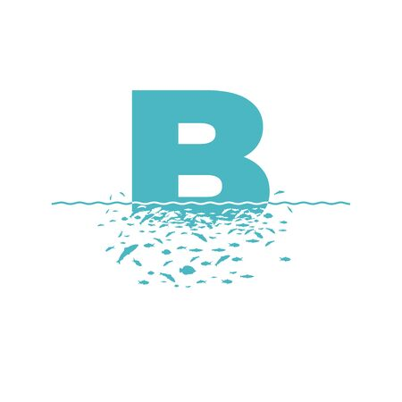 Letter B with the effect of destruction. Dispersion. Fishes. Иллюстрация