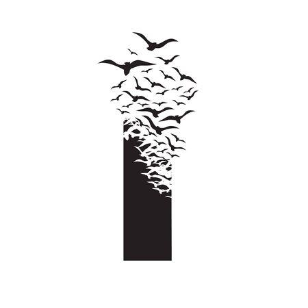 letter I with effect of destruction. Dispersion. Birds. Vetores