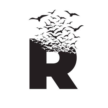 letter R with effect of destruction. Dispersion. Birds.