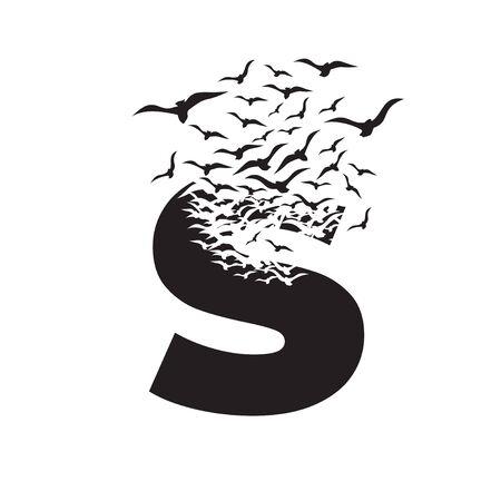 letter S with effect of destruction. Dispersion. Birds.