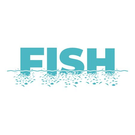 Letters F, I, S, H with the effect of destruction. Dispersion. Fishes. Иллюстрация