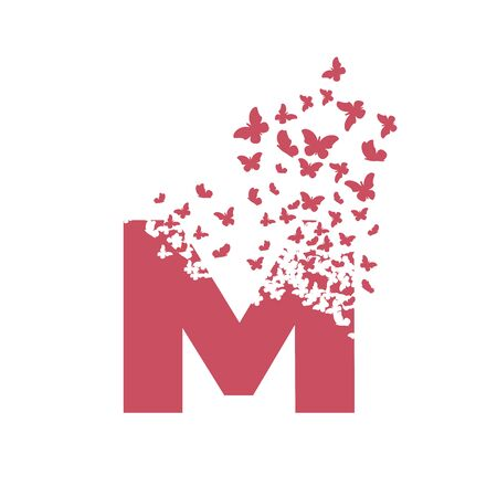 letter M with effect of destruction. Dispersion. Butterfly, moth.