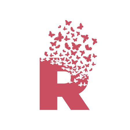 letter R with effect of destruction. Dispersion. Butterfly, moth. Ilustrace