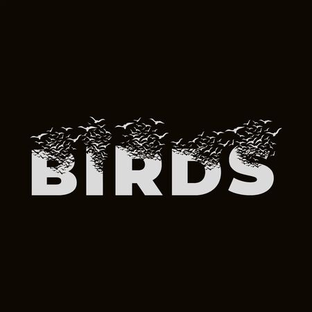 The word Birds with effect of destruction. Dispersion. Birds.