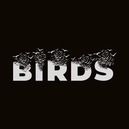 The word Birds with effect of destruction. Dispersion. Birds. Vektoros illusztráció