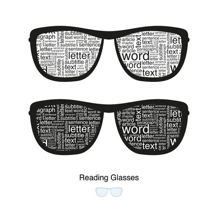 Reading Glasses. The text inside the eyeglass frames.