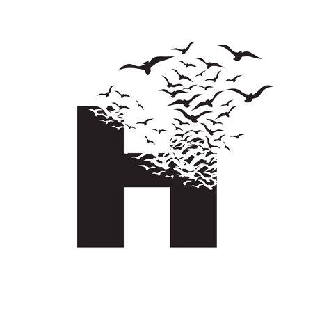 letter H with effect of destruction. Dispersion. Birds. Vektoros illusztráció