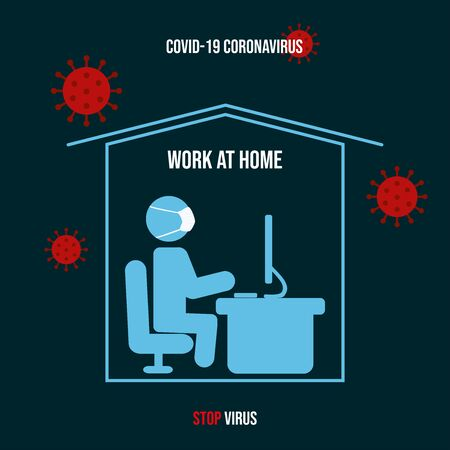 The masked man is sitting at home and working. Coronavirus Covid -19.