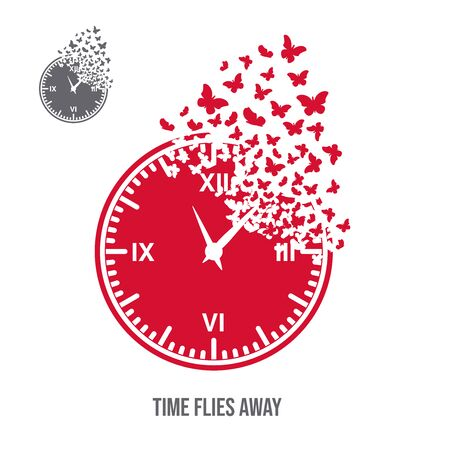 The dial of the watch with the effect of destruction. Dispersion. Butterflies or moths. Concept - time flies. Иллюстрация