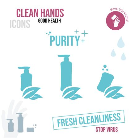 Icons of bottles and soap with leaves. The concept is fresh cleanliness.