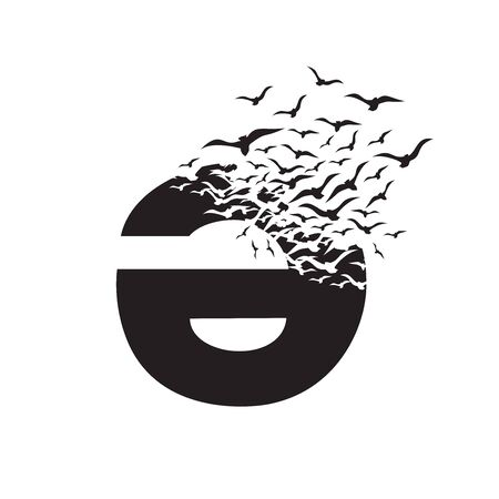 Azerbaijani letter with effect of destruction. Dispersion. Birds.