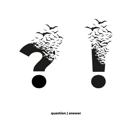 Punctuation marks with effect of destruction. Dispersion. Birds.