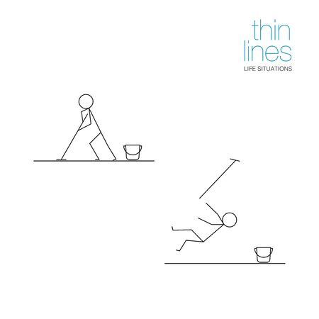 Life situations in thin lines. Man washes the floor.