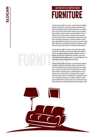 Furniture. Sofa, floor lamp, picture. Letterhead. Çizim