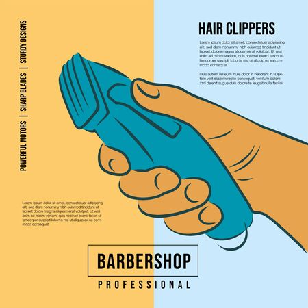 Hand holds a professional hair clipper. Icon for hairdressers. Drawing for barber shops. Poster.