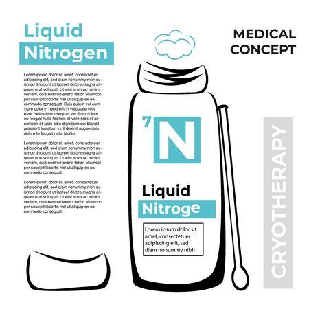 A vessel or flask with liquid nitrogen. Wand. Иллюстрация