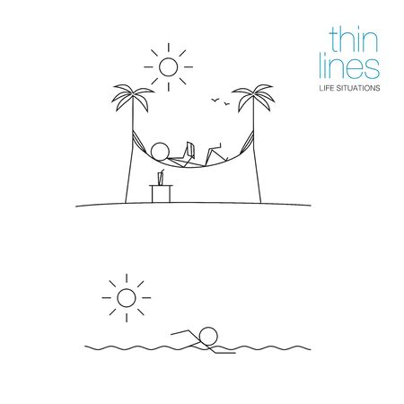 Life situations in thin lines. A man lies on a hammock and reads a book. A man swims in the sea. Black and white. Stock Illustratie