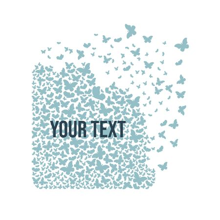 A square figure from a cloud of butterflies with effect of destruction. Dispersion. Background for text.
