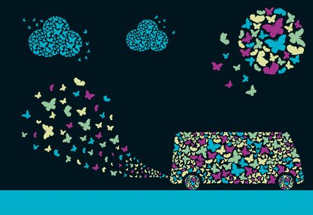 A bus in the form of a cloud of butterflies. Sun in the form of a cloud of butterflies. Exhaust fumes in the form of a cloud of butterflies. Environmental protection concept. Poster.