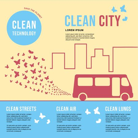 Environmentally friendly bus in the city. Exhaust fumes in the form of a cloud of butterflies. Environmental protection concept. Poster.