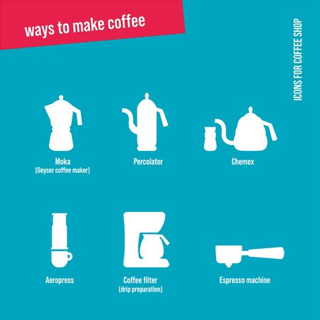 Cafe Icons Set. Ways to make coffee.