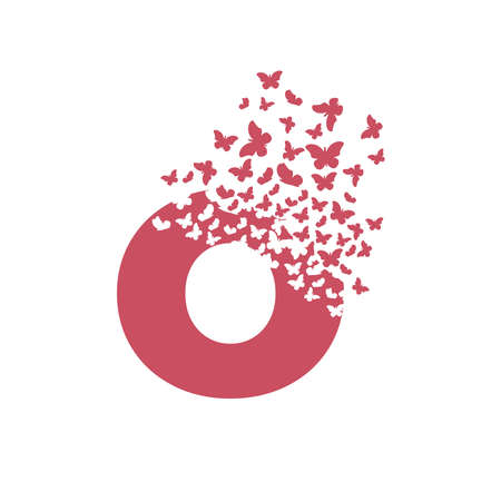 letter O with effect of destruction. Dispersion. Butterfly, moth.