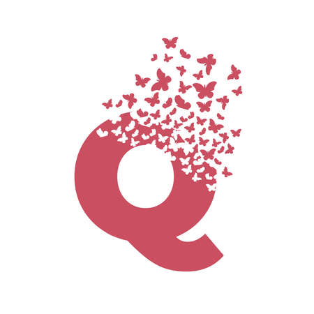 letter Q with effect of destruction. Dispersion. Butterfly, moth.