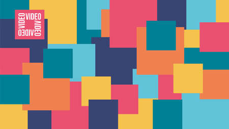 Virtual background for video conferencing. Color block pattern. Blocks of different sizes. Glasses. Template for courses or webinars.