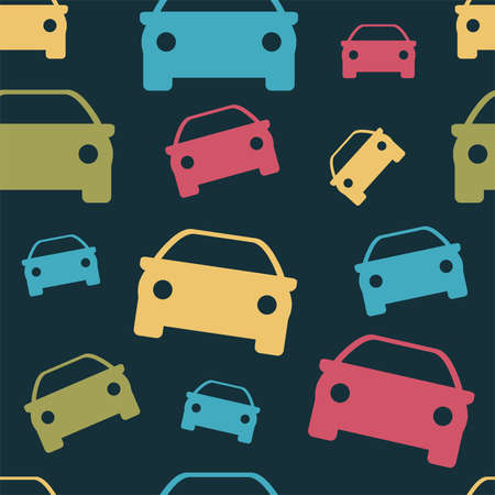 Seamless pattern. Print for clothes. Patterns for packaging. Car icon.