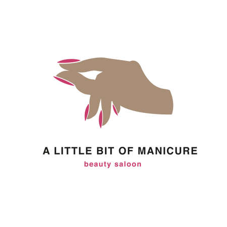 Silhouette of a hand with painted nails. Beauty salon icon, logo. A little gesture.