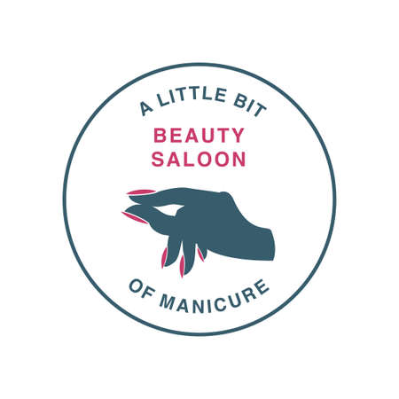Silhouette of a hand with painted nails. Beauty salon icon, logo. A little gesture. Stamp.