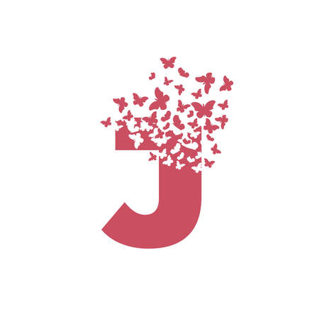 The letter J dispersing into a cloud of butterflies and moths. 向量圖像