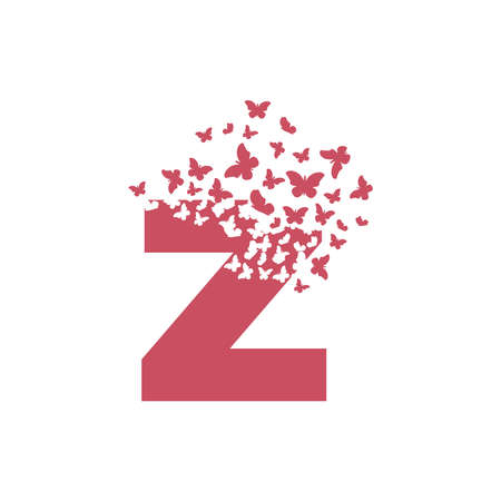 The letter Z dispersing into a cloud of butterflies and moths. 向量圖像