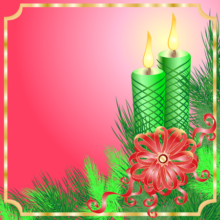 Christmas frame with the fir branches, candles and a bow on a pink background Illustration