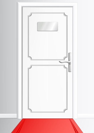 dignified: White door with the silvery handle and the tablet without an inscription and with a red carpet