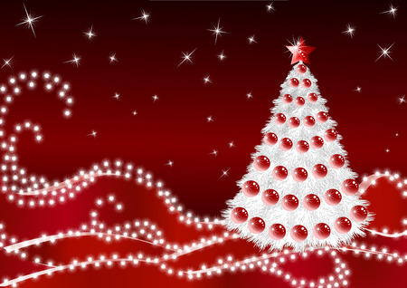 Silhouette of a Christmas fir tree on dark red snow with snowflakes at the night Illustration
