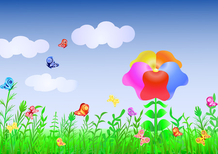 Beautiful meadow with a grass and the multi-colored flower against the dark blue sky and flitting butterflies