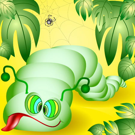 The amusing caterpillar which was very tired to creep Vector