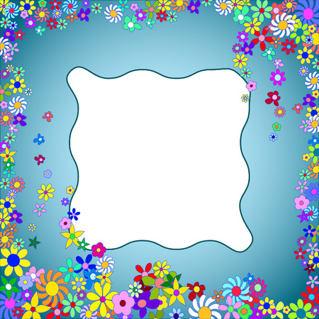 Frame of Colorful Flowers on a Blue Background