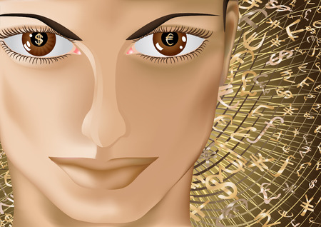 Beautiful face of the woman with monetary symbols in eyes