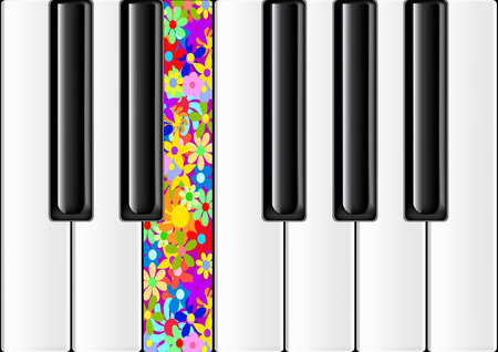 The keyboard of the classical piano with one colorful key Stock Vector - 8162050
