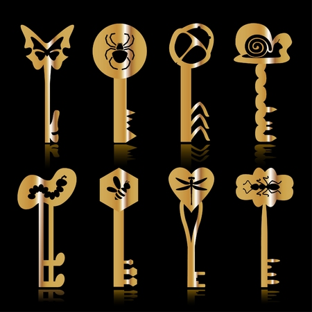 Some gold keys with the image of insects on a black background