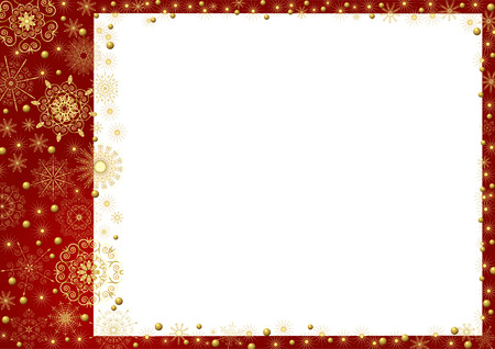 Claret frame with gold stars and a white background