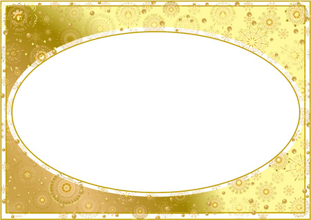 Gold frame with gold stars on a white background