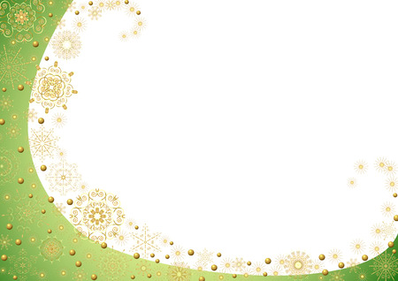 Green frame with gold stars on a white background Stock Vector - 8254092