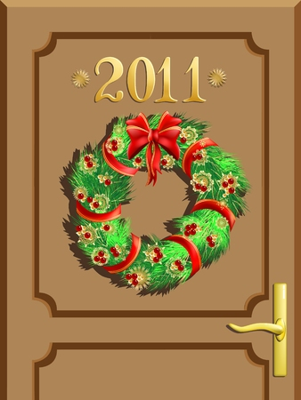 Entrance door with number 2011 and a Christmas decoration Vector