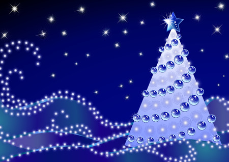 Silhouette of a Christmas fir-tree on dark blue snow with snowflakes it the night Vector