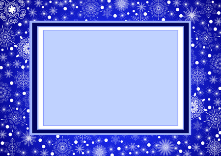 Beautiful cristmas frame with snowflakes on background Vector